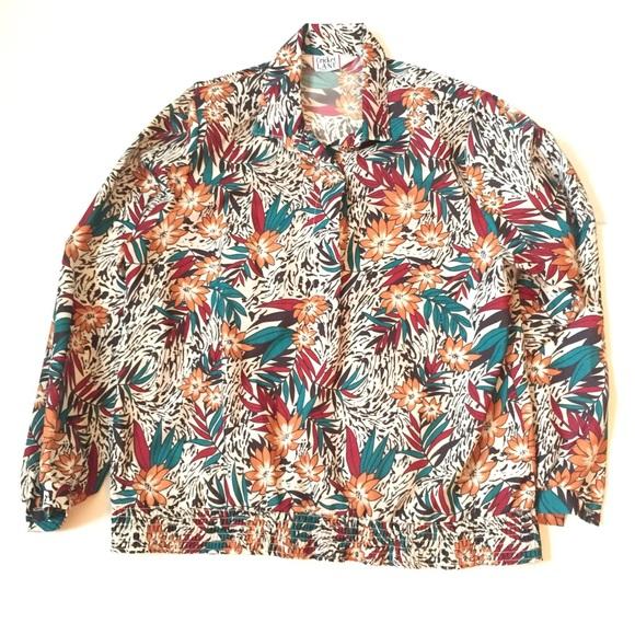 Size Large Floral Vintage Top, Vintage Crazy 80s Blouse